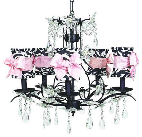 black cinderella chandelier w zebra shades pink sashes