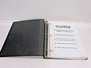 Lot Snapper 1989 2000 Tractor Mower Parts Manual Warranty