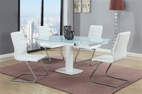 Kitchen Table Sets Glass by Stylish Rectangular Frosted Glass Top 5 Pc Dinette Set