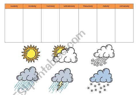 days   week  weather chart esl worksheet