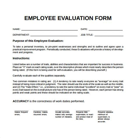 Employee Confirmation Evaluation Form by 41 Sle Employee Evaluation Forms To Download Sle
