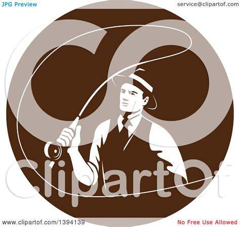 foto de Clipart of a Retro Mobster Gangster Guy Fly Fishing in a