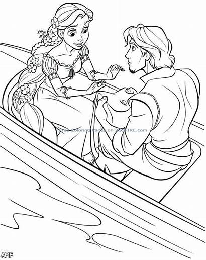 Coloring Rapunzel Pages Flynn Disney Rider Tangled