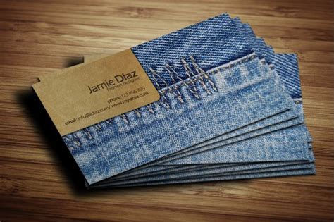 jeans card business card templates creative market