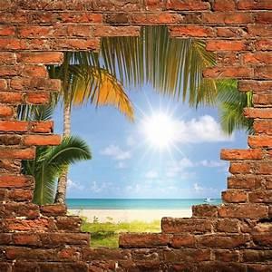 Trompe L Oeil Mur : sticker mural trompe l 39 oeil mur de pierre plage stickers autocollants ~ Dode.kayakingforconservation.com Idées de Décoration