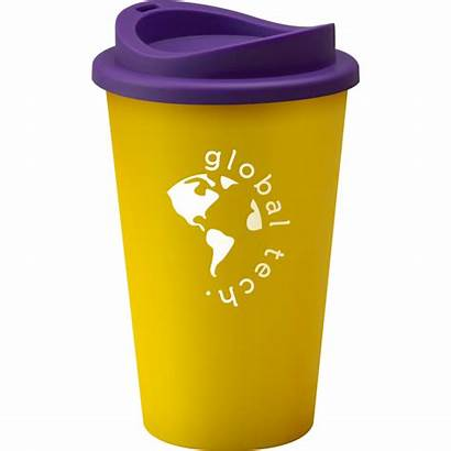 Coffee Mug Reusable Universal Branded Travel Yellow