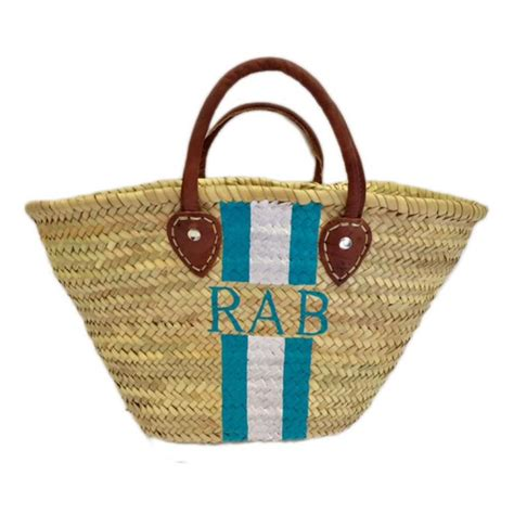 monogrammed hand painted stripe straw tote bag