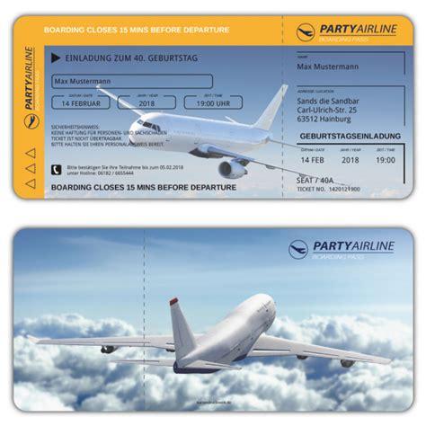 geburtstagseinladung flugticket boarding pass jetzt