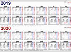 Zweijahreskalender 2019 & 2020 als PDFVorlagen zum Ausdrucken