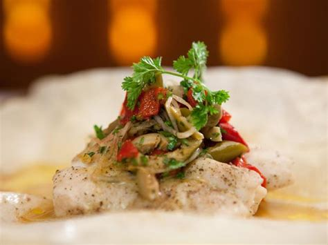 grouper sauce orange recipes grilled sour parchment recipe bobby relish martini steamed flay food fish paul cooking herbed couscous crispy