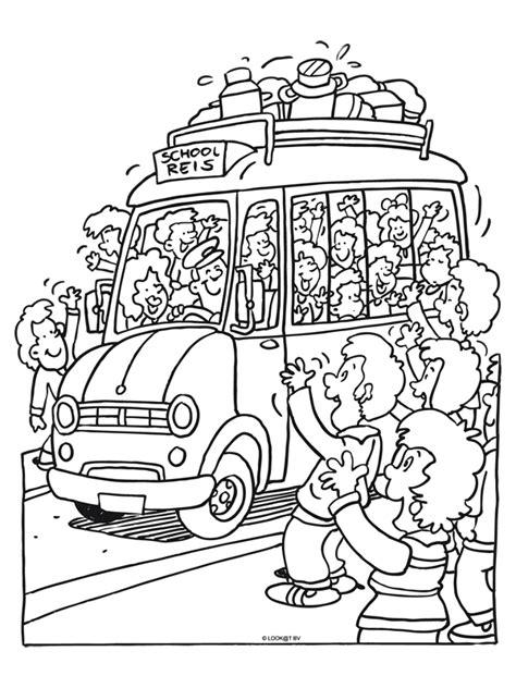 Kleurplaat Autobus by Kleurplaat Vertrekt Voor Schoolreis Kleurplaten Nl