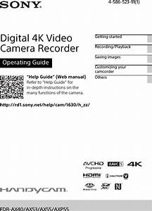 Sony Fdr Ax53 User Manual Operating Guide 4586523111