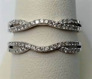 wedding ring guard 14k white gold split shank solitaire enhancer 0 35ct diamonds ring guard wrap ebay