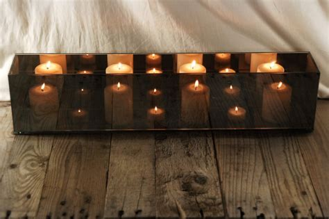 rectangle candle holder mirrored glass candle holder