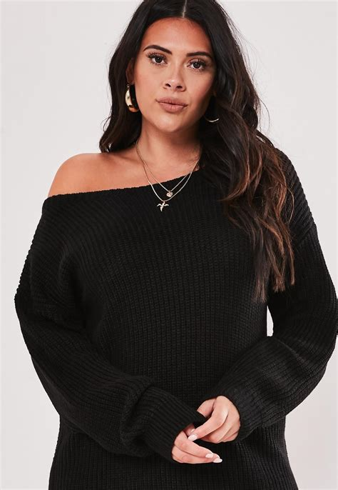 Plus Size Black Off The Shoulder Sweater Dress | Missguided