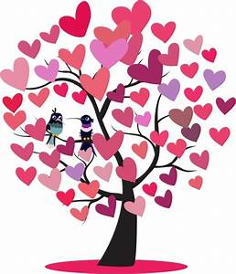 Hearts Tree Icon Woodpeckers Couple Decoration-vector