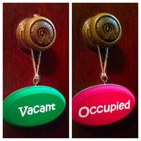vacant occupied sided bathroom sign green