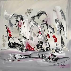 Peinture En Noir Et Blanc : tableau abstrait gris noir blanc rouge argent ~ Melissatoandfro.com Idées de Décoration