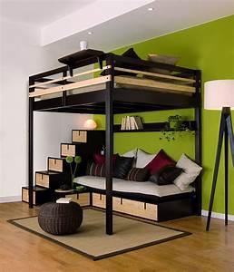 lit mezzanine adulte avec banquette et escalier rangement With tapis chambre bébé avec hauteur standard canapé