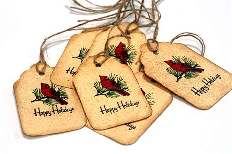 vintage christmas gift tags red cardinal bird by
