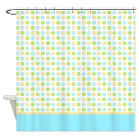 blue yellow green polka dot shower curtain by