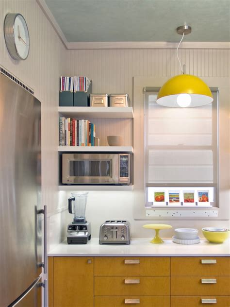small kitchen shelving ideas small and narrow modern kitchen design with floating wall mounted microwave shelf and corner