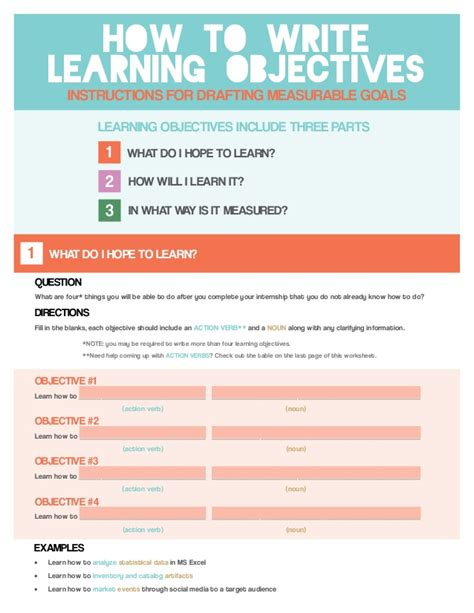 What To Write In The Objective Part Of A Resume by How To Write Learning Objectives