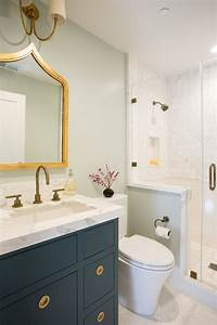 navy vanity transitional bathroom fiorella design With best brand of paint for kitchen cabinets with bathroom wall art sets