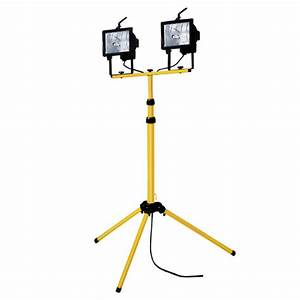 W twin head telescopic halogen floodlight work site