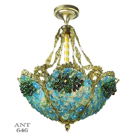 antique bohemian bowl chandelier blue green glass bead