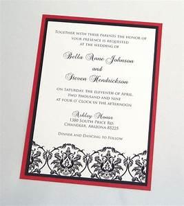 bella damask wedding invitation sample black white and With wedding invitation kits nz