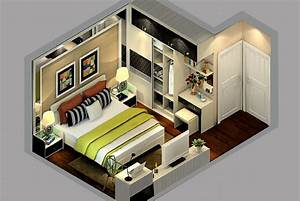 Modern style sectional view of master bedroom design