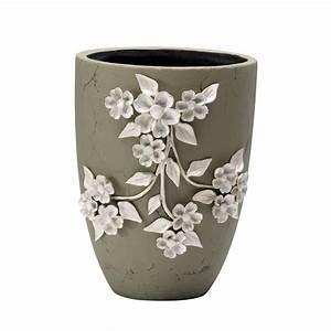 Large Sculpted Ivory Flower Ceramic Applique Outdoor