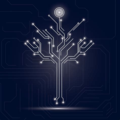 circuit board design tree design on circuit board background vector image