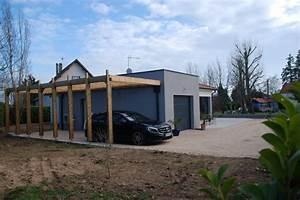 pergola en bois massif addossee au garage toit plat With abri de jardin contemporain 16 cuisine en bois par perene