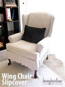Wingback Chair Slipcover Box Cushion by My Wing Chair Slipcover Reveal