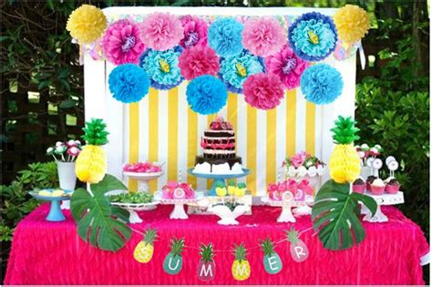 hawaiian party decorations colorful paper pompoms flower