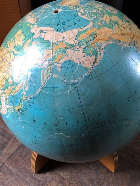 Large Vintage World Globe, 16 inch globe, Physical ...