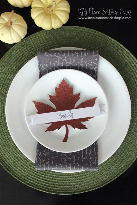 simple leather  watercolor place setting cards cricut