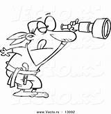 Telescope Coloring Cartoon Spyglass Outlined Through Peering Pirate Toonaday sketch template