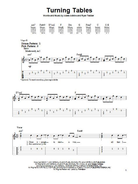 turning tables sheet music turning tables sheet music by adele easy guitar tab 88821