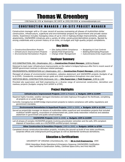11 sle resume for project manager construction riez