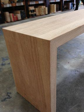 custom  white oak waterfall bench  house  hardwood