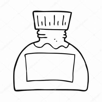 Ink Clipart Pot Cartoon Inkt Drawing Bottle