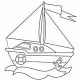 Sail Coloring Cartoon Boat Around Outline Ship Illustrations Printable sketch template