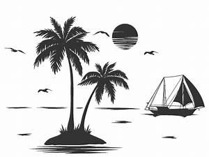 Palme Schwarz Weiß : wandtattoo einsame insel mit palmen ~ Eleganceandgraceweddings.com Haus und Dekorationen