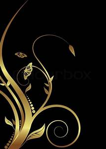 Abstract golden floral design on a black background