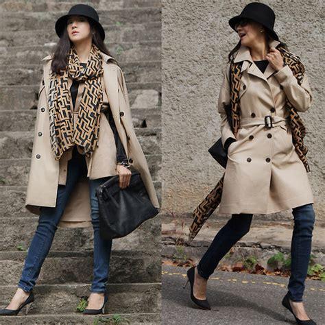 Becky Baek Black Hat Trench Coat Brown Scarf Suede