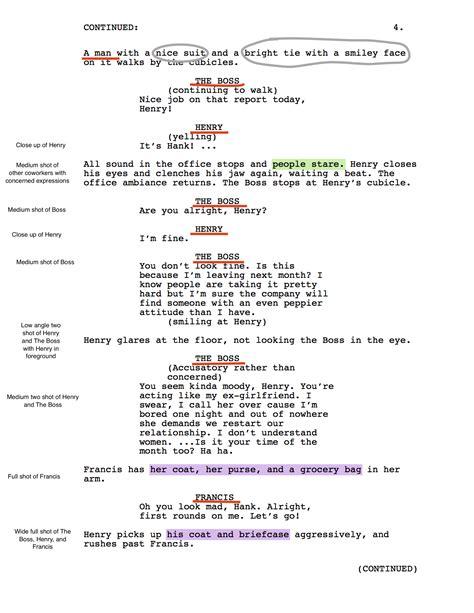 shooting script hank  short film