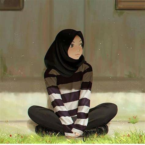 fantastis  gambar anime keren hijab arka gambar